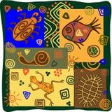 Afrikanska motiv med djur royaltyfri illustrationer