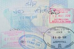 afrikanska passstämplar Royaltyfri Bild