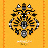 Afrikanska stam- etniska Art Background royaltyfri illustrationer