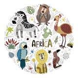 Afrikanska tecknad filmdjur för vektor vektor illustrationer