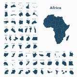 Afrikanskt återhållsamt och alla länder av Afrika vektor vektor illustrationer