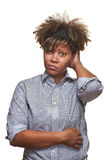 afrikanskt confused kvinnabarn Arkivfoton