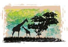 Afrikanskt fauna- och florakort royaltyfri illustrationer