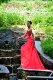 Afrikanskt flickaanseende på vattenfallet Royaltyfri Fotografi