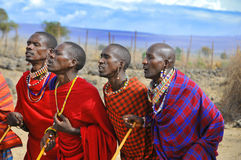 Afrikanskt folk från Masaistammen Royaltyfria Bilder