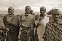 Afrikanskt folk från Masaistammen Arkivfoto