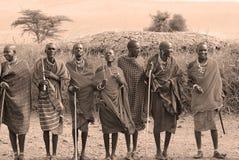 Afrikanskt folk från Masaistammen Arkivbilder