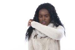 Afrikanskt isolerat hosta för kvinna Fotografering för Bildbyråer
