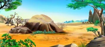 Afrikanskt landskap med stora stenar Arkivbild