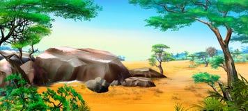 Afrikanskt landskap med stora stenar Fotografering för Bildbyråer