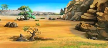Afrikanskt landskap med träd nära bergen i en sommardag Royaltyfri Foto