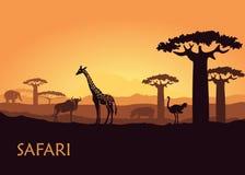 Afrikanskt landskap med vilda djur royaltyfri illustrationer