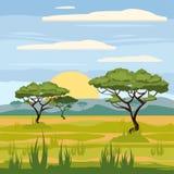 Afrikanskt landskap, savannah, natur, träd, vildmark, tecknad filmstil, vektorillustration royaltyfri illustrationer