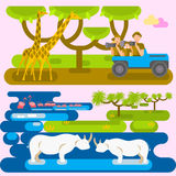 Afrikanskt safaribegrepp stock illustrationer