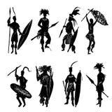 Afrikanskt stam- dra för krigare skissar illustrationen royaltyfri illustrationer
