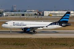 Afriqiyah Airways flygbuss Fotografering för Bildbyråer