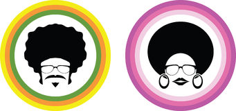 Διάνυσμα ανδρών και γυναικών Afro Στοκ φωτογραφία με δικαίωμα ελεύθερης χρήσης