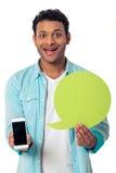 Afro-américain avec la bulle et l'instrument de la parole Photo stock