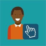 Afro-américain d'homme employant l'icône de media de curseur d'ordinateur portable Photographie stock libre de droits