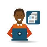 Afro-américain d'homme employant l'icône de media de document d'ordinateur portable Images libres de droits