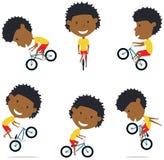 Afro-américain Rider Boy de vélo de BMX Illustration de Vecteur