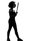 afro america woman holding baseball bat Royalty Free Stock Photography