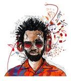 Afro-americam man listening to music. Vector illustration royalty free illustration