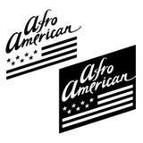 Afro American. Flag stars stripes black white vector illustration