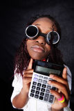 Afro-american accountant manager. Thinking afro - american accountant manager stock photo