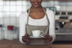 Afro American barista. Cropped image of beautiful Afro American barista in apron holding a cup and smiling while standing at bar counter royalty free stock photos