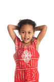 Afro american beautiful girl children with black c Stock Photo