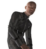 Afro American Biker. 3D render of an Afro American biker in leather suit Stock Photography