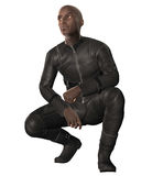 Afro American Biker. 3D render of an Afro American biker in leather suit Royalty Free Stock Photo