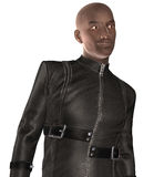 Afro American Biker. 3D render of an Afro American biker in leather suit Stock Photos