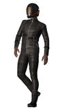 Afro American Biker. 3D render of an Afro American biker in leather suit Royalty Free Stock Images