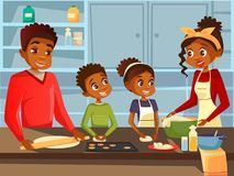 Afro American black family cooking together at kitchen flat cartoon illustration of African parents and children vector illustration