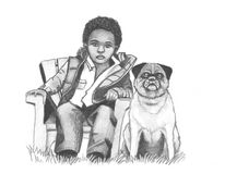 The Afro-American boy with the old dog Royalty Free Stock Photos