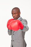 Afro-American businessman boxing Royalty Free Stock Photography