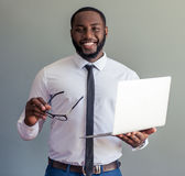Afro American businessman with gadget Royalty Free Stock Photography