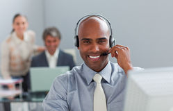 Afro-american  businessman with headset Royalty Free Stock Images