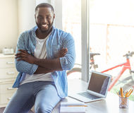 Afro American businessman at home Stock Image