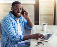 Afro American businessman at home Royalty Free Stock Images