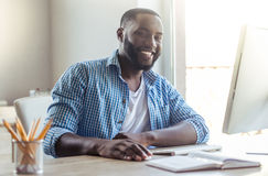 Afro American businessman at home Royalty Free Stock Image