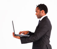 Afro-american businessman on a laptop Stock Photo