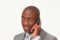 Afro-American businessman on mobile phone stock image