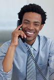 Afro-American businessman on phone Stock Photo