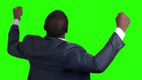 Afro american businessman with raised fists, back view. Rear view of successful businessman with clenched fists on chroma key background. Business triumph stock video