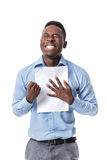 Afro American businessman screaming with happiness Royalty Free Stock Photography