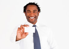 Afro-American businessman showing his card Royalty Free Stock Photo