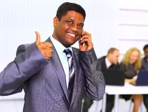 Afro-American businessman talking Stock Photo